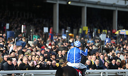 Paul Townend waves to the crowds after winning the Sun Bets StayersÕ Hurdle on Penhill during St Patrick's Thursday of the 2018 Cheltenham Festival at Cheltenham Racecourse.