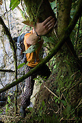 David Reuger climbs down a steep section in the jungle to a river bed in the Peruvian Andes