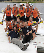 Poznan, POLAND,  NED W8+ with their Gold medals and coaches' left Rene MIJNDERS and Steffen de VRIES, after securing Olympic selection for the 2008 Beijing Olympics by winning the Gold medal the  women's eight  at the 2008 Olympic Qualification  Rowing Regatta. Malta Rowing Course on Wednesday, 18/06/2008. [Mandatory Credit:  Peter SPURRIER / Intersport Images] . Rowing Course:Malta Rowing Course, Poznan, POLAND