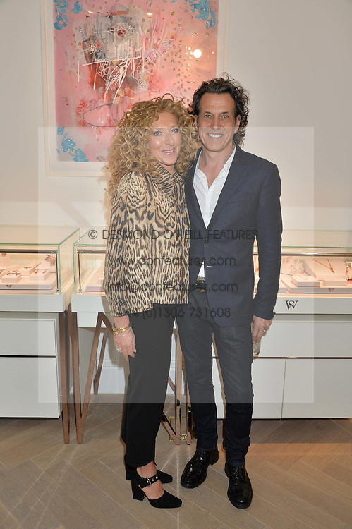 STEPHEN WEBSTER and KELLY HOPPEN at a party to celebrate the launch of the new Stephen Webster Salon at 130 Mount Street, London on 18th May 2016.