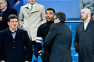 Troy Deeney of Watford who is currently banned, takes his seat in the stands to watch the game. Premier league match, Everton vs Watford at Goodison Park in Liverpool, Merseyside on Sunday 5th November 2017.<br /> pic by Chris Stading, Andrew Orchard sports photography.