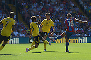 Dwight Gayle of Crystal Palace shoots and 'scores' a  goal but it is disallowed. Barclays Premier league match, Crystal Palace v Aston Villa at Selhurst Park in London on Saturday 22nd August 2015.<br /> pic by John Patrick Fletcher, Andrew Orchard sports photography.