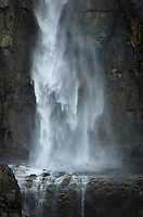 Waterfall flowing over cliffs of Whitehorn Mountain, Mount Robson Provincial Park British Columbia Canada