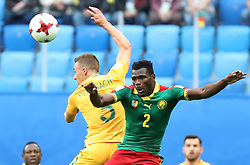 2017?6?23?.   ????????——?????????????????.    6?22????????????????????????????????????????.    ??????????????2017????????B???????????1?1?????????.    ?????????..(SP)RUSSIA-ST. PETERSBURG-2017 FIFA CONFEDERATIONS CUP-CMR VS AUS..(170623) -- ST. PETERSBURG, June 23, 2017  Ernest Mabouka (2nd R) of Cameroon competes for a header with Alex Gersbach (2nd L) of Australia during the group B match between Cameroon and Australia of the 2017 FIFA Confederations Cup in St. Petersburg, Russia, on June 22, 2017. The match ended with a 1-1 tie.  7 9854294892 (Credit Image: © Xu Zijian/Xinhua via ZUMA Wire)