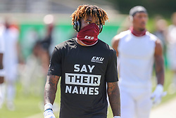 Sep 5, 2020; Huntington, West Virginia, USA; Eastern Kentucky Colonels defensive back Josh Hayes (12) warms up prior to their game against the Marshall Thundering Herd at Joan C. Edwards Stadium. Mandatory Credit: Ben Queen-USA TODAY Sports