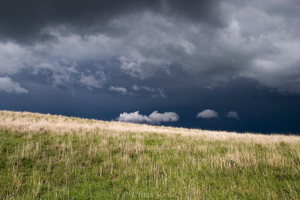Stormclouds and sunlight, Russian Ridge, California