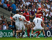 Wales' Liam Williams collects a high ball during the The Old Mutual Wealth Cup match England -V- Wales at Twickenham Stadium, London, Greater London, England on Sunday, May 29, 2016. (Steve Flynn/Image of Sport)