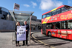 Scottish Greens, Free Bus Travel, 27 February<br /> <br /> Ahead of the budget debate this afternoon, Scottish Greens Parliamentary Co-Leaders Alison Johnstone MSP and Patrick Harvie MSP along with the Green MSP group staged a photocall outside the Scottish Parliament to celebrate their free bus travel for under 19s budget win.<br /> <br /> The Scottish Greens yesterday announced that a deal had been struck on free bus travel, more money for councils, extra resource for community safety and an additional £45 million package to tackle fuel poverty and the climate emergency.<br /> <br /> Pictured:  Alison Johnstone MSP and Andy Wightman MSP<br /> <br /> Alex Todd | Edinburgh Elite media