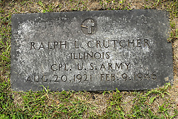 31 August 2017:   Veterans graves in Park Hill Cemetery in eastern McLean County.<br /> <br /> Ralph L Crutcher Illinois Corporal US Army  Aug 20 1921 Feb 9 1946