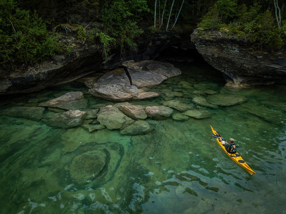 Kayaking at Grand Island National Lakeshore in Munising, Michigan.