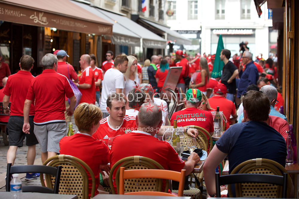 LYON, FRANCE - Wednesday, July 6, 2016: Wales supporters in Lyon ahead of their team's UEFA Euro 2016 Championship Semi-Final match against Portugal. (Pic by Paul Greenwood/Propaganda)