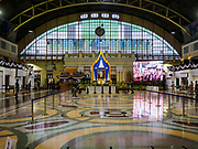 26 OCTOBER 2017 - BANGKOK, THAILAND:  The main waiting area at Hua Lamphong train station has been turned into a shrine to Bhumibol Adulyadej, the Late King of Thailand, during his funeral ceremony. The king died on 13 October 2016 and was cremated 26 October 2017, after a mourning period of just over one year. The revered monarch was the longest reigning king in Thai history and is credited with guiding Thailand through the turbulent latter half of the 20th century.   PHOTO BY JACK KURTZ