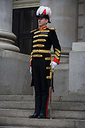 The City Marshal during the traditional ceremony of the proclamation of the dissolution of Parliament, on the day that Prime Minister David Cameron announces the beginning of the 2015 election campaign. City Officers and officials help proclaim the dissolving of parliament on the day that the period of Britain's general election starts. Accompanied by constables in cloaks, the three Esquires: The City Marshall, the Sword Bearer and the Mace Bearer (who is properly called 'the Common Cryer and Sergeant-at-arms'); who run the Lord Mayor's official residence, announces from the steps of Royal Exchange, Cornhill, to the capital's ancient financial district.