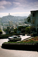 Car going down Lombard Street, San Francisco, California