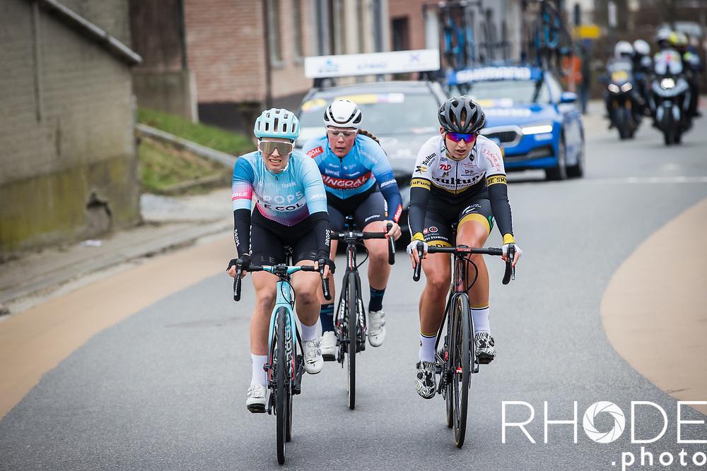 early breakaway group with Kylie Waterreus (NED/Multum Accountants LSK Ladies Cycling), Elizabeth Bennett (GBR/Drops Le Col), Claudia Jongerius (NED/Bingoal Casino-Chevalmeire Cycling) <br /> <br /> 13th Women's Omloop Het Nieuwsblad 2021 <br /> 1 Day Race: Gent – Ninove 124km<br /> <br /> ©Rhode.Photo