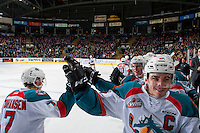KELOWNA, CANADA - FEBRUARY 13: Rodney Southam #17 of the Kelowna Rockets high fives Lucas Johansen #7 from the bench on February 13, 2017 at Prospera Place in Kelowna, British Columbia, Canada.  (Photo by Marissa Baecker/Shoot the Breeze)  *** Local Caption ***