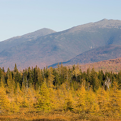 New Hampshire's Presidential Range as seen from Cherry Pond in Jefferson, New Hampshire.  Pondicherry National Wildlife Refuge.  White Mountains.