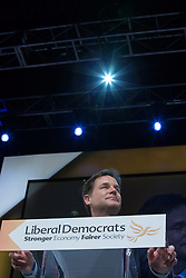 © Licensed to London News Pictures . 08/10/2014 . Glasgow , UK . NICK CLEGG , Deputy Prime Minister and Party Leader , delivers his keynote speech at the close of the conference . The Liberal Democrat Party Conference 2014 at the Scottish Exhibition and Conference Centre in Glasgow . Photo credit : Joel Goodman/LNP
