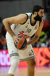 15.04.2015, Palacio de los Deportes stadium, Madrid, ESP, Euroleague Basketball, Real Madrid vs Anadolu Efes Istanbul, Playoffs, im Bild Real Madrid´s Ioannis Bourousis // during the Turkish Airlines Euroleague Basketball 1st final match between Real Madrid vand Anadolu Efes Istanbul t the Palacio de los Deportes stadium in Madrid, Spain on 2015/04/15. EXPA Pictures © 2015, PhotoCredit: EXPA/ Alterphotos/ Luis Fernandez<br /> <br /> *****ATTENTION - OUT of ESP, SUI*****