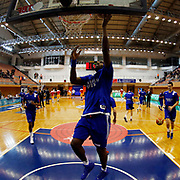 Anadolu Efes's Bryant Dunston warms-up prior to their Turkish Basketball Super League match Istanbul BBSK between Anadolu Efes at Cebeci Arena in Istanbul Turkey on Sunday 29 November 2015. Photo by Aykut AKICI/TURKPIX