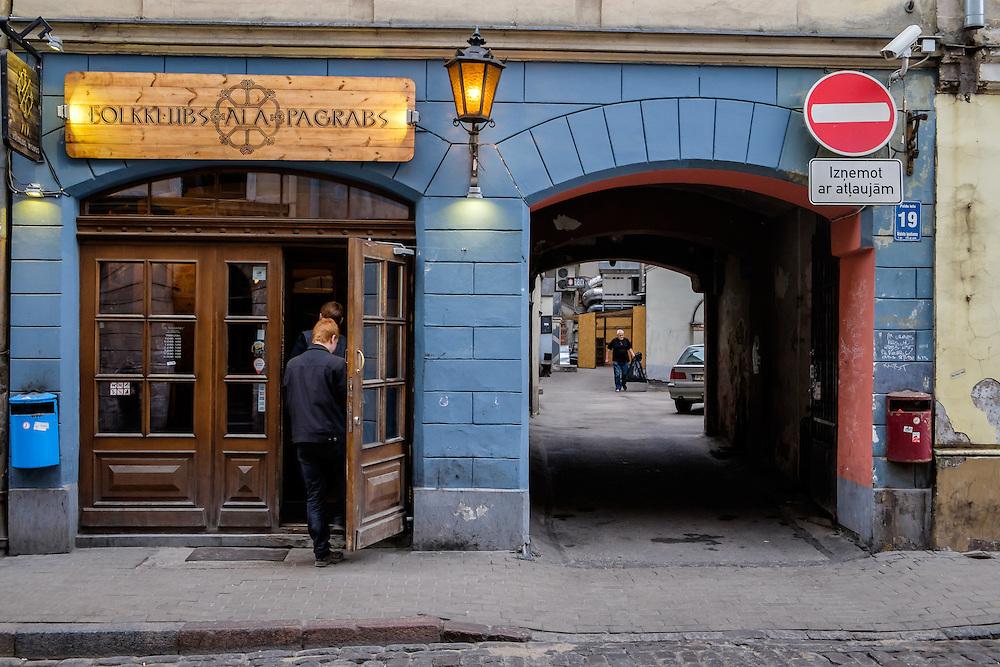 RIGA, LATVIA - CIRCA MAY 2014: Bar in Old town Riga.