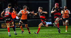 Cheetahs' William Small-Smith fends off Dragons' Arwel Robson<br /> <br /> Photographer Craig Thomas/Replay Images<br /> <br /> Guinness PRO14 Round 18 - Dragons v Cheetahs - Friday 23rd March 2018 - Rodney Parade - Newport<br /> <br /> World Copyright © Replay Images . All rights reserved. info@replayimages.co.uk - http://replayimages.co.uk