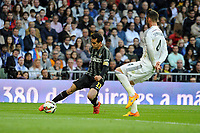Real Madrid´s Sergio Ramos and Malaga´s Juan Miguel Jimenez during 2014-15 La Liga match between Real Madrid and Malaga at Santiago Bernabeu stadium in Madrid, Spain. April 18, 2015. (ALTERPHOTOS/Luis Fernandez)