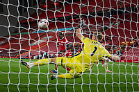 Football - 2020 / 2021 Premier League - Liverpool vs Sheffield United - Anfield<br /> <br /> Liverpool's Mohamed Salah has a shot hit the post<br /> <br /> COLORSPORT/TERRY DONNELLY
