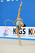 Neta Rivkin during qualifying at hoop in Pesaro World Cup at Adriatic Arena on 26 April 2013. Neta was born on June 23, 1991 in Petah Tiqwa Israel. <br /> She is one of Israel's most successful rhythmic gymnasts.