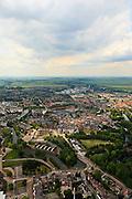 Nederland, Utrecht, Woerden, 22-05-2011; het centrum van Woerden van oudsher legerplaats en vesting, herkenbaar aan de stervorm. Rond de Sint-Bonaventurakerk, onder het midden, het Defensie-eiland met het Kasteel van Woerden en loodsen van het voormalige Centraal Magazijn van Kleding en Uitrusting van de landmacht.  .Center of Woerden, traditional army town and fortress, identifiable by the star shape. Around the St. Bonaventure Church, owe part of the center, the .Defence Island with Castle Woerden and barracks of the former Central Warehouse for Clothing and Equipment of the army..luchtfoto (toeslag); aerial photo (additional fee required);.foto Siebe Swart / photo Siebe Swart