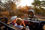 "Robin Tetlow Shooter with Tyler Talmage viewing a giraffe from a safari land cruiser in the Phinda Game Reserve.<br /> <br /> Phinda Private Game Reserve encompasses an impressive 23 000 hectares (56 800 acres) of prime conservation land wilderness in KwaZulu-Natal, South Africa. Showcasing one of the continent's finest game viewing experiences. Phinda is described as ""Seven Worlds of Wonder"", with its seven distinct habitats - a magnificent tapestry of woodland, grassland, wetland and forest, interspersed with mountain ranges, river courses, marshes and pans. Phinda is a wilderness sanctuary where intimate encounters, adventure and rare discoveries can be experienced firsthand."