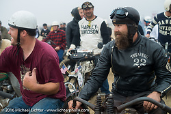 Alex Trepanier and Matt Walksler of North Carolina in the staging area for TROG West - The Race of Gentlemen. Pismo Beach, CA, USA. Saturday October 15, 2016. Photography ©2016 Michael Lichter.