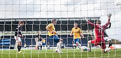Falkirk's Botti Biabi misses a chance.<br /> Falkirk 6 v 0 Cowdenbeath, Scottish Championship game played at The Falkirk Stadium, 25/10/2014.