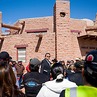 041113       Cable Hoover<br /> <br /> Navajo Nation attorney general Harrison Tsosie addresses a crowd of protesters and mine employees outside the Navajo Nation Council Chambers in Window Rock Thursday.