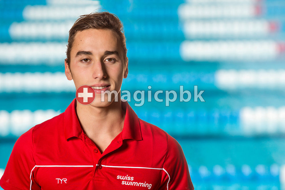 Swimmer Timothy SCHLATTER of SUI poses for a portrait photo during the Swiss Swimming Championships at the Piscine des Vernets in Geneva, Switzerland, Sunday, March 26, 2017. (Photo by Patrick B. Kraemer / MAGICPBK)