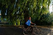 Een man fietst met de boodschappen in Utrecht.<br /> <br /> A man cycles with his groceries in Utrecht.