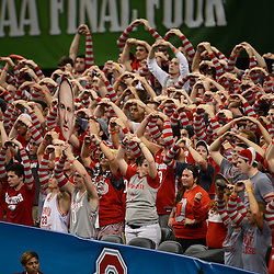Mar 31, 2012; New Orleans, LA, USA; Ohio State Buckeyes fans cheer during the second half in the semifinals of the 2012 NCAA men's basketball Final Four against the Kansas Jayhawks at the Mercedes-Benz Superdome. Mandatory Credit: Derick E. Hingle-US PRESSWIRE
