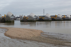 © Licensed to London News Pictures. 08/01/2014. London, UK. The River Thames at low tide this afternoon, 45 minutes before the Thames Barrier started closing. The Thames Barrier closed for the thirteenth consecutive tide this evening as part of the London flood defence strategy, 8 January 2014  Photo credit : Vickie Flores/LNP