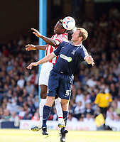 Photo: Chris Ratcliffe.<br />Southend United v Stoke City. Coca Cola Championship.<br />05/08/2006.<br />Vincent Pericard of Stoke City (L) clashes with Spencer Prior of Southend.