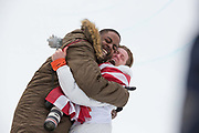 Shaun White, USA, celebrates with snowboard coach JJ Thomas after winning the mens Snowboard Halfpipe competition during the Pyeongchang Winter Olympics on 14th February 2018 at Phoenix Snow Park in South Korea