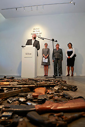 16 April 2014. Jonathan Ferrara Gallery, New Orleans, Louisiana. <br /> L/R; Jonathan Ferrara, Council members Stacy Head, Susan Guidry and  LaToya Cantrell,at the Jonathan Ferrara Gallery to announce the 'Guns In The Hands Of Artists' project where artists take parts from 190 destroyed weapons acquired by the New Orleans Police department through a buy-back program and convert them into art.  <br /> Photo; Charlie Varley/varleypix.com