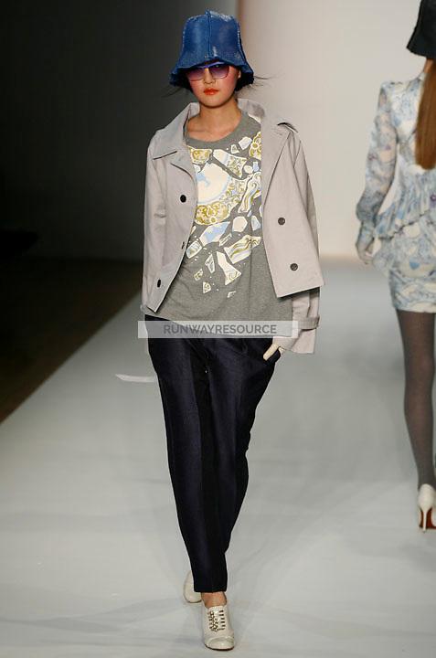 Hyoni Kang walks the runway wearing Karen Walker Fall 2009 Collection