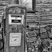 Sinclair Gasoline Pump - Eldorado Canyon - Nelson NV - HDR -  Black & White