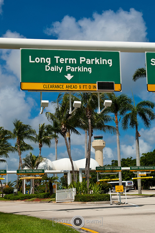 Entrance signage for Palm Beach International Airport parking garages and FAA control panel