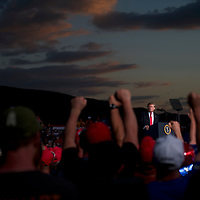 """U.S. President Donald J. Trump speaks during a """"MAGA"""" rally at the Williamsport Regional Airport in Montoursville, Pennsylvania. Thousands of people are expected to attend his rally in an area of Pennsylvania where he won more than 50 percent support in the 2016 election."""