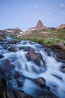 Golden Horn peak ( 13780 ft) rises above creek in Ice Lakes Basin, San Juan mountains, Colorado, USA