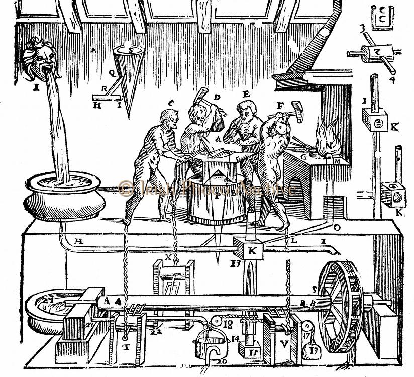 Hero of Alexandria's (lst century AD) mechanical blacksmiths. Woodcut from 'Gli Artificiose e curiosi moti spiritale de Herone', Bologna, 1647. The mechanism is powered by water.