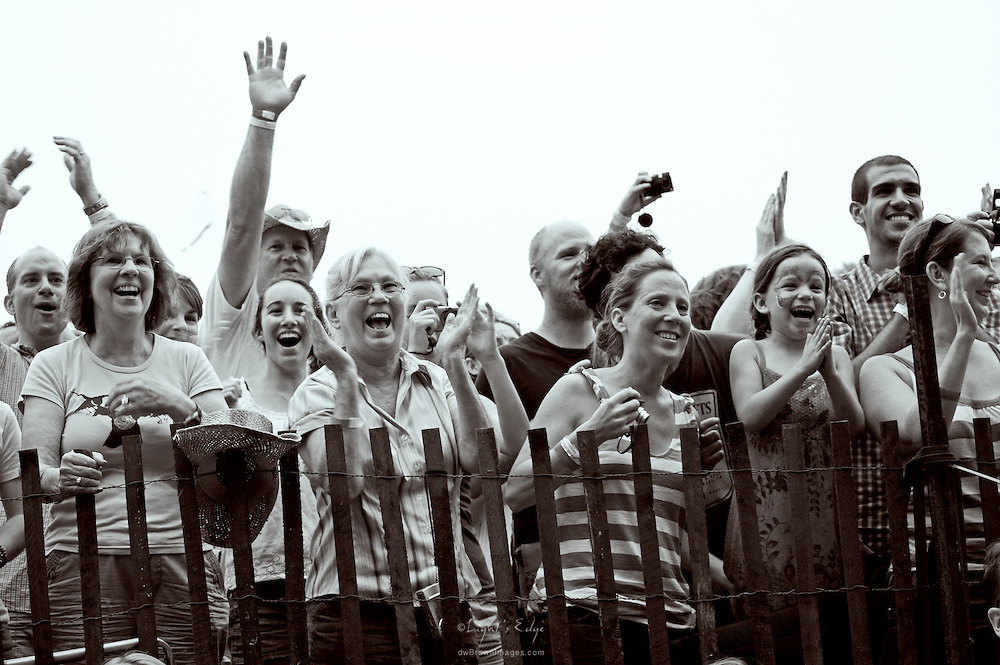 Joyous fans of The Avett Brothers cheer during the 2010 Appel Farm's Arts & Music Festival.