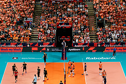 21-09-2019 NED: EC Volleyball 2019 Netherlands - Germany, Apeldoorn<br /> 1/8 final EC Volleyball / Centercourt view Thijs Ter Horst #4 of Netherlands, Nimir Abdelaziz #14 of Netherlands, Wessel Keemink #2 of Netherlands, support