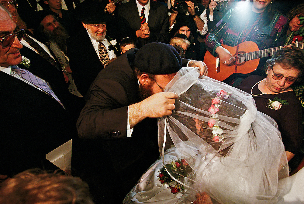 A Jewish couple at their wedding in Jerusalem.
